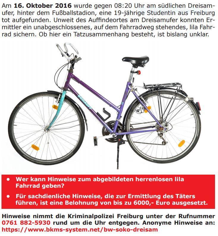 Letzter Benutzer dieses Fahrrads gesucht, gefunden an der Dreisam