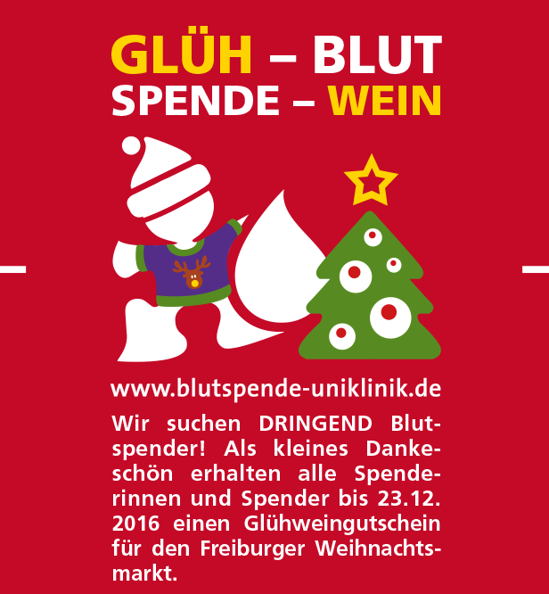 Blutspende gegen Glühwein - Weihnachtsmarkt Freiburg