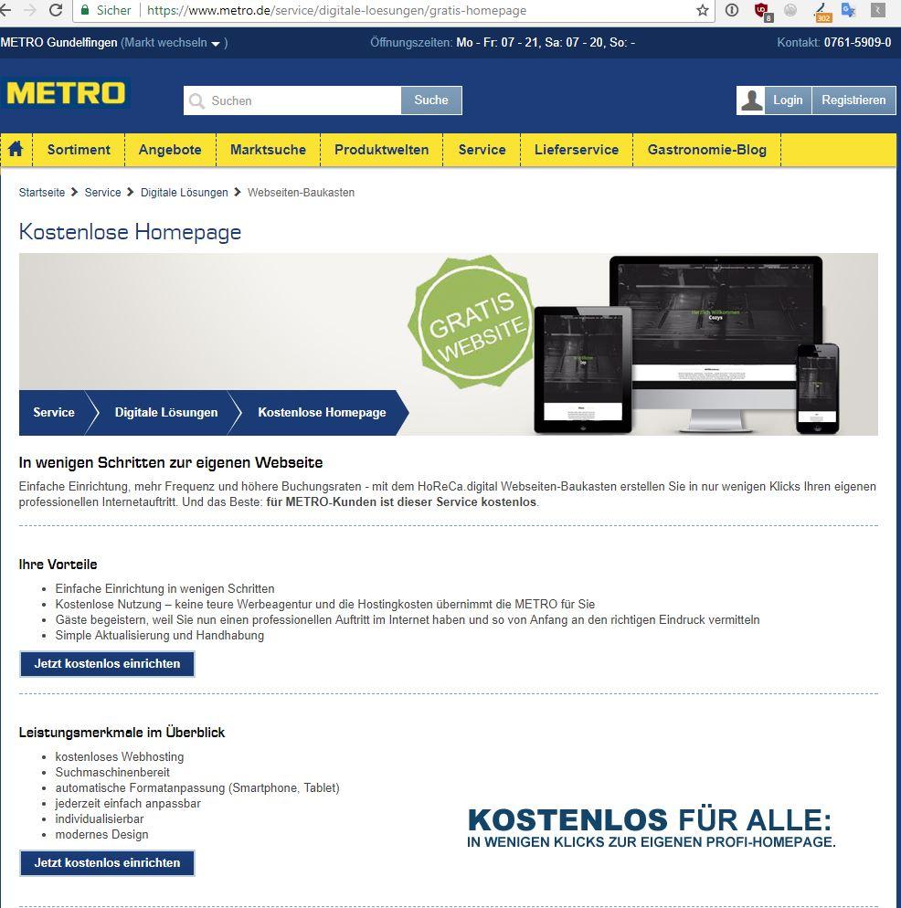 Der Start zur kostenlosen Website der Metro