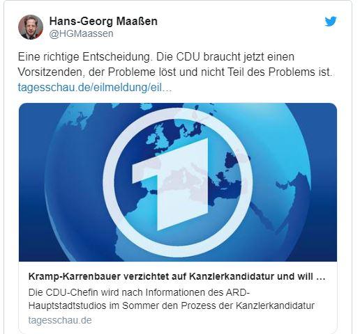 Kommentar Hans-Georg Maaßen zum Rücktritt Kramp-Karrenbauers