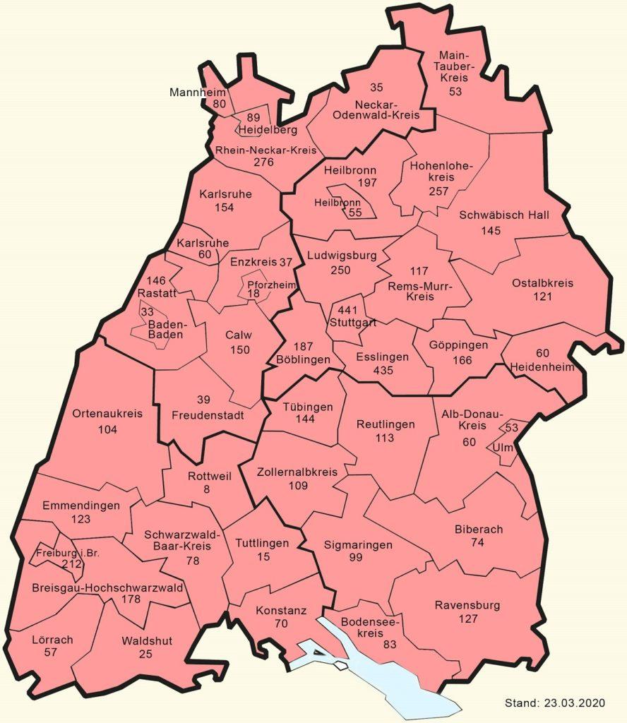 Coronavirus in Baden-Württemberg per 23.3.2020