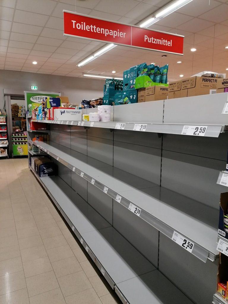 Klopapier Supermarkt ausverkauft
