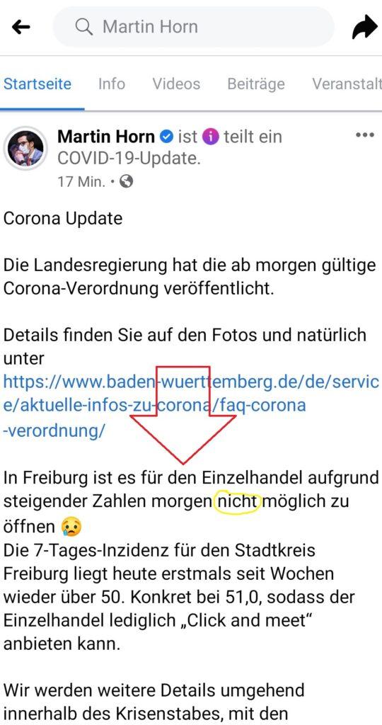 Martin Horn Einzelhandel Freiburg 8.3.2021